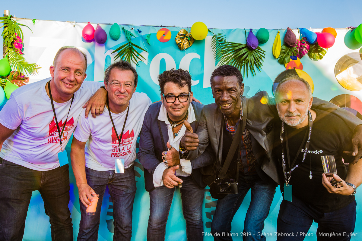 Un échantillon des membres du conseil d'administration de Zebrock : Fabrice Bulteau (chargé de développement éditorial), Bruno Barbat (directeur financier), Marc Maret (éditeur), Willy Vainqueur (photographe) et Nicolas Bigards (metteur en scène)